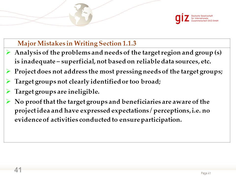 Major Mistakes in Writing Section 1.1.3