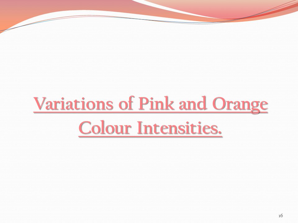 Variations of Pink and Orange Colour Intensities.