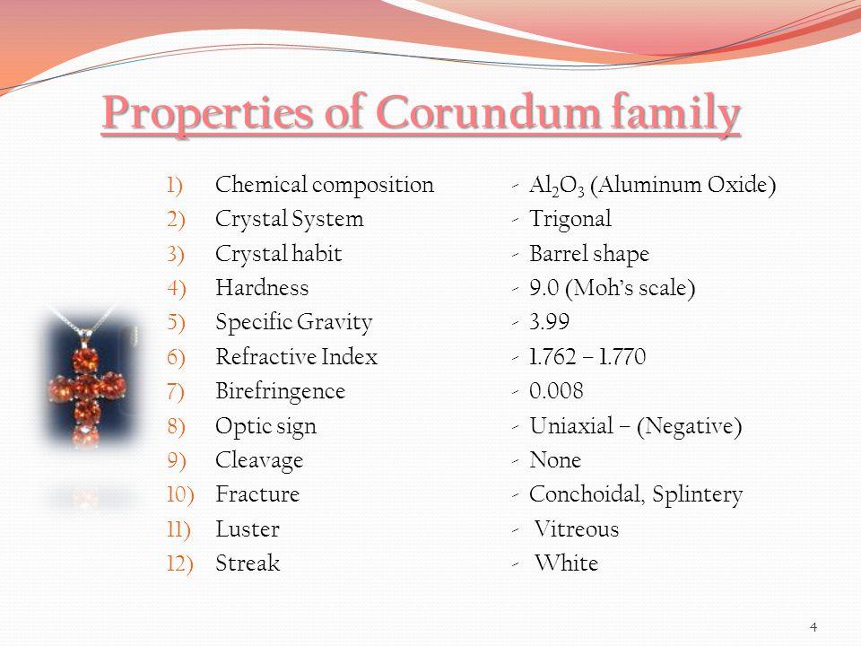 Properties of Corundum family