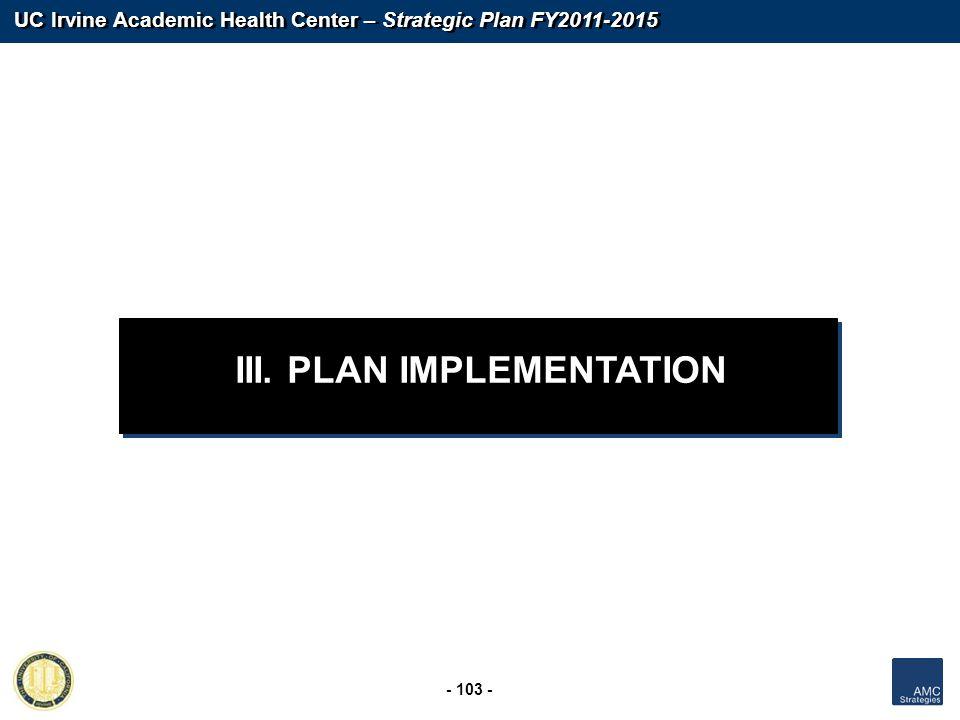 III. PLAN IMPLEMENTATION