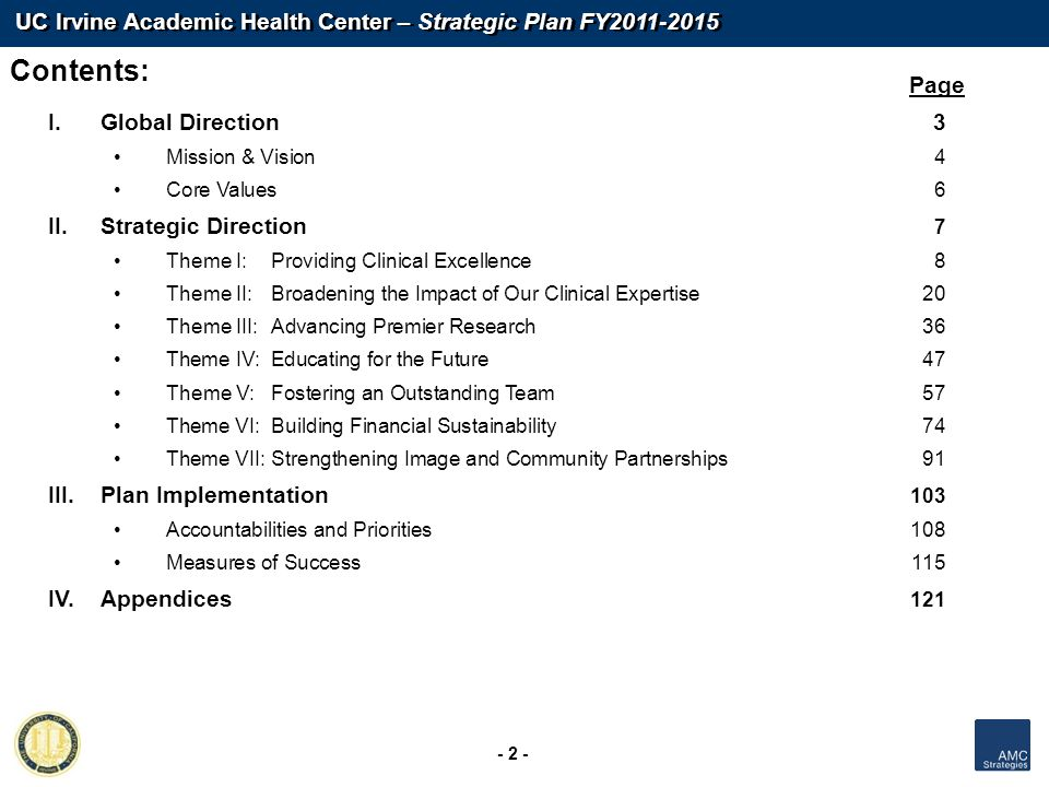 Contents: Page Global Direction 3 Strategic Direction 7