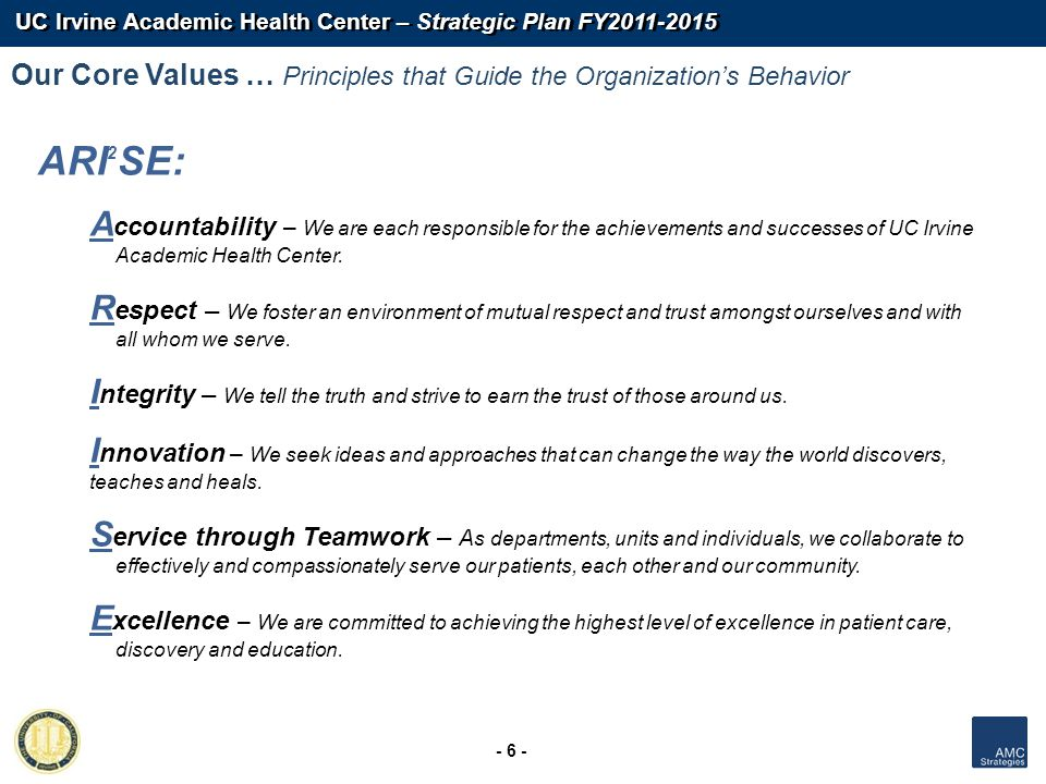 Our Core Values … Principles that Guide the Organization's Behavior