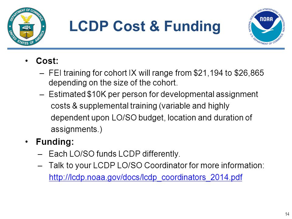 LCDP Cost & Funding Cost: Funding: