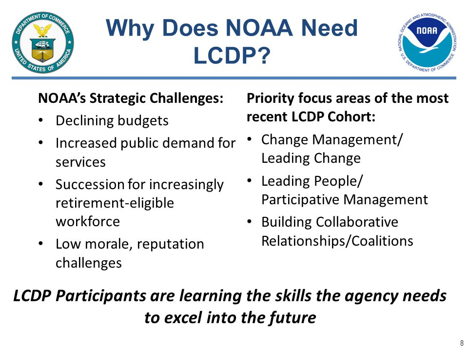 Why Does NOAA Need LCDP NOAA's Strategic Challenges: Declining budgets. Increased public demand for services.