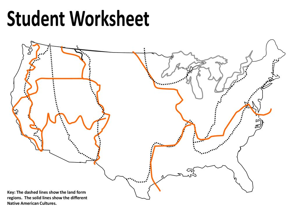 Student Worksheet Key: The dashed lines show the land form ...