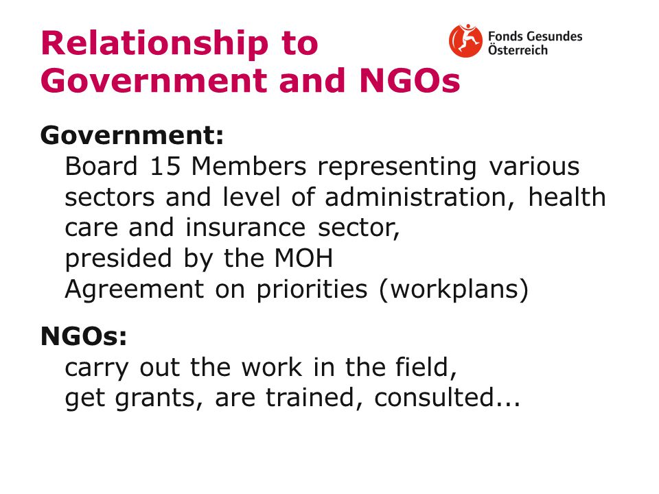 Relationship to Government and NGOs