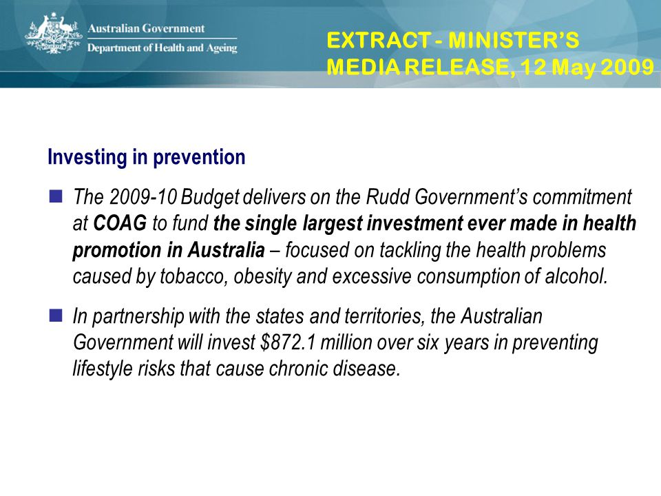 EXTRACT - MINISTER'S MEDIA RELEASE, 12 May 2009