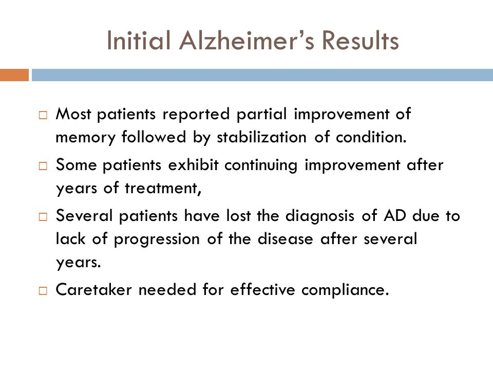 Initial Alzheimer's Results