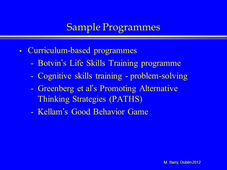 Sample Programmes Curriculum-based programmes