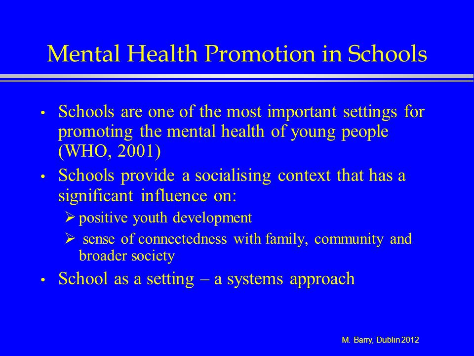 Mental Health Promotion in Schools