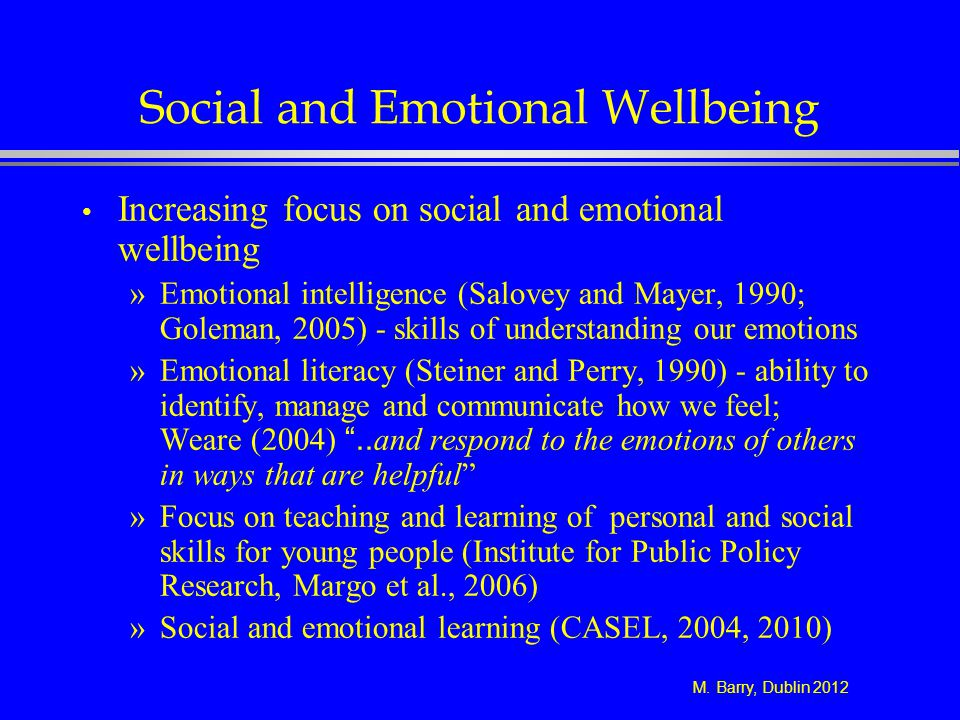 Social and Emotional Wellbeing