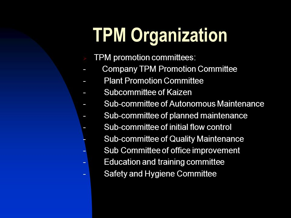 TPM Organization TPM promotion committees: