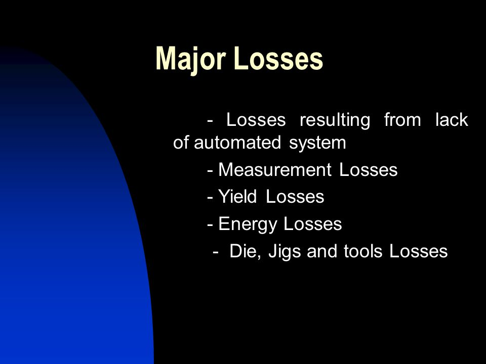 Major Losses - Losses resulting from lack of automated system