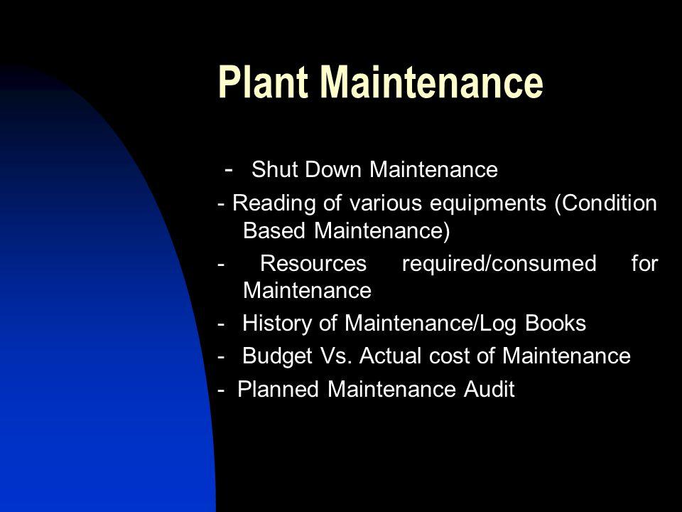 Plant Maintenance - Shut Down Maintenance
