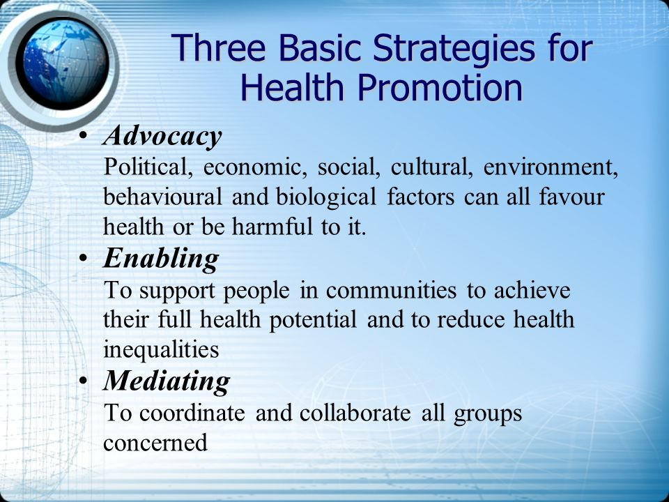 Three Basic Strategies for Health Promotion