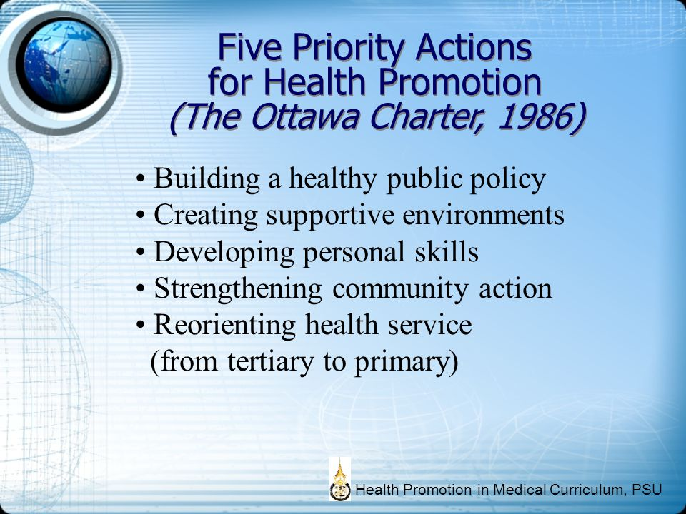 Five Priority Actions for Health Promotion (The Ottawa Charter, 1986)