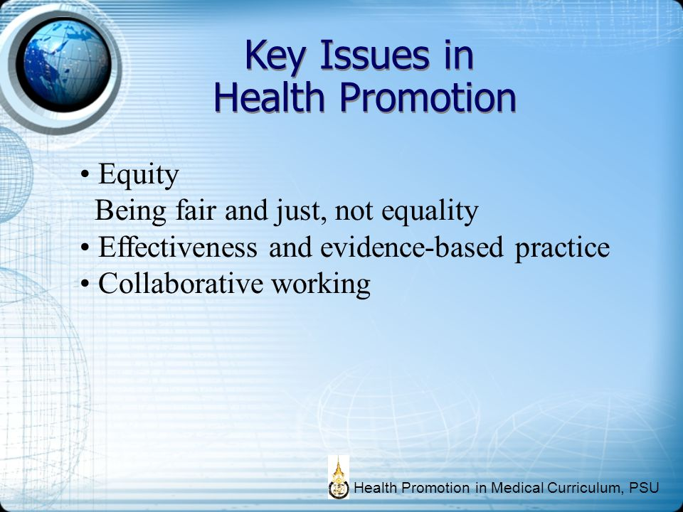 Key Issues in Health Promotion Equity