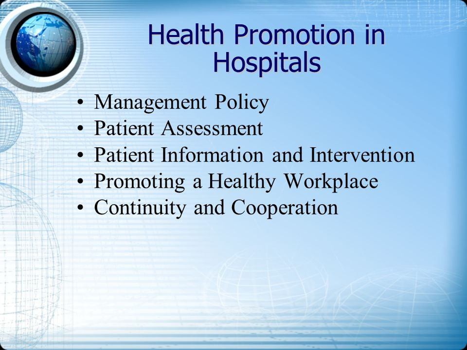 Health Promotion in Hospitals