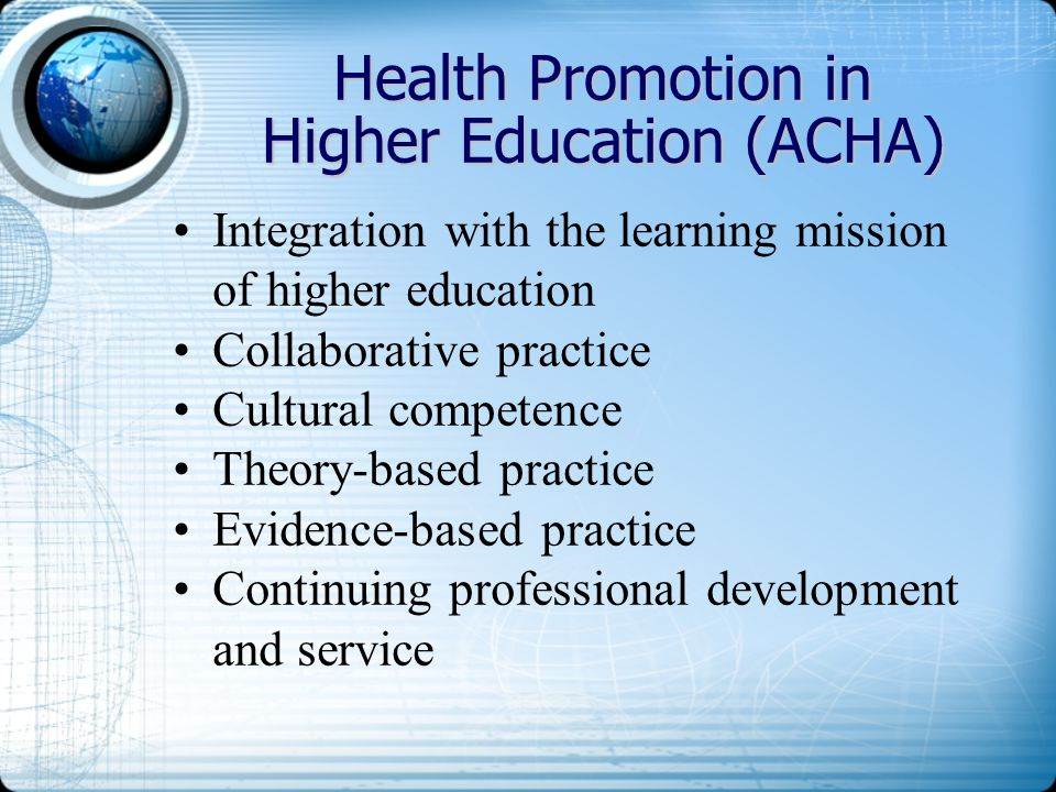 Health Promotion in Higher Education (ACHA)