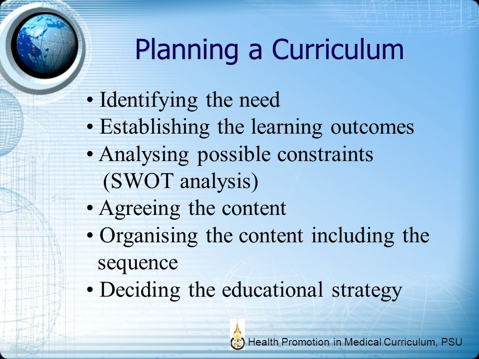 Planning a Curriculum Identifying the need