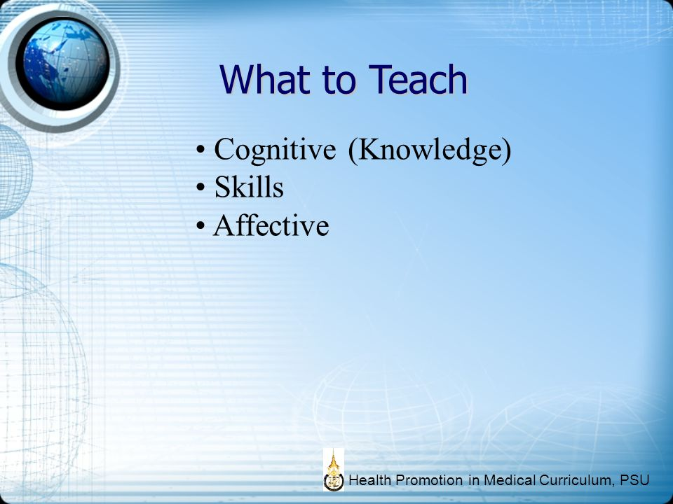 What to Teach Cognitive (Knowledge) Skills Affective