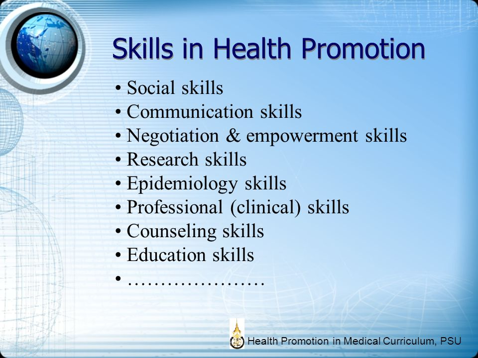 Skills in Health Promotion