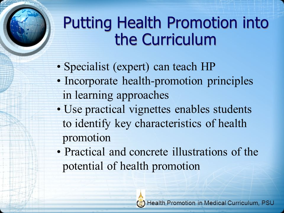 Putting Health Promotion into