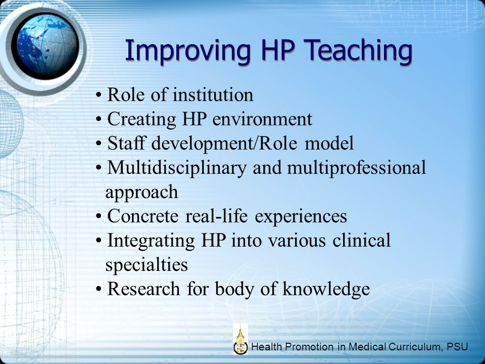 Improving HP Teaching Role of institution Creating HP environment