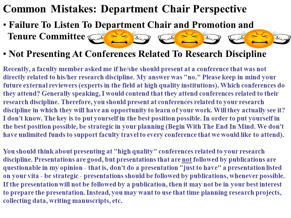 Common Mistakes: Department Chair Perspective