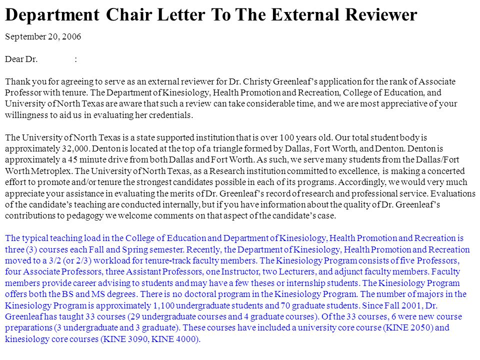Department Chair Letter To The External Reviewer