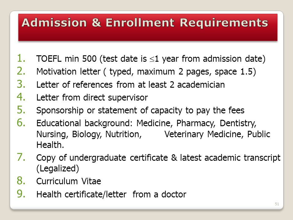 Admission & Enrollment Requirements