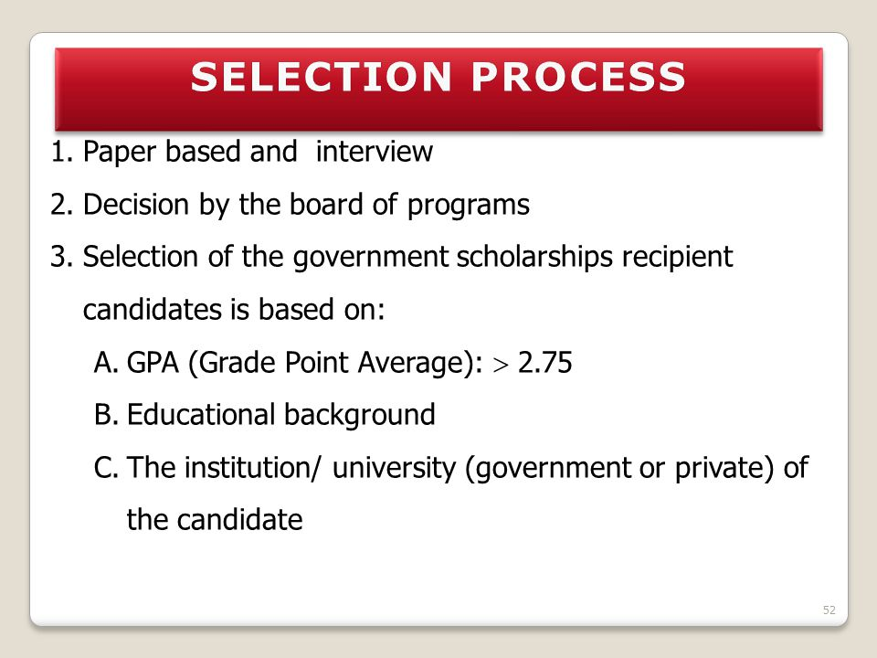 SELECTION PROCESS Paper based and interview