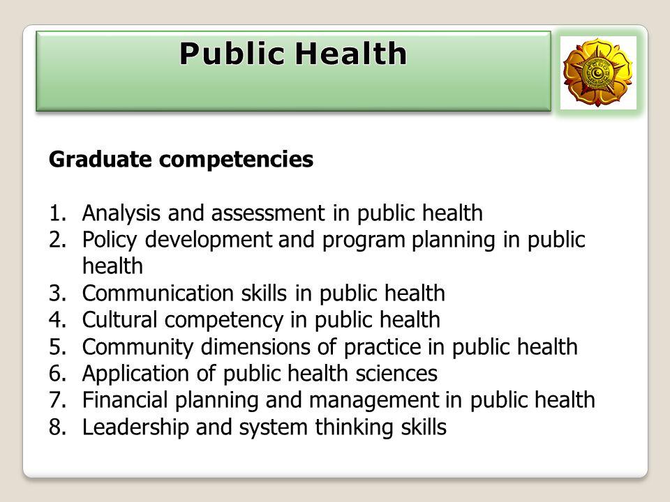 Public Health Graduate competencies