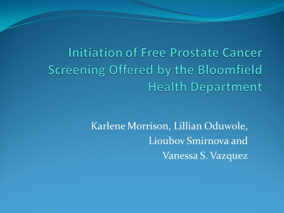Initiation of Free Prostate Cancer Screening Offered by the Bloomfield Health Department