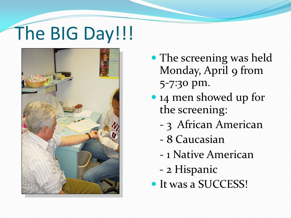 The BIG Day!!! The screening was held Monday, April 9 from 5-7:30 pm.