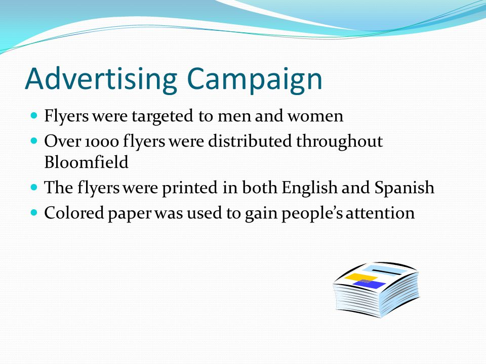 Advertising Campaign Flyers were targeted to men and women