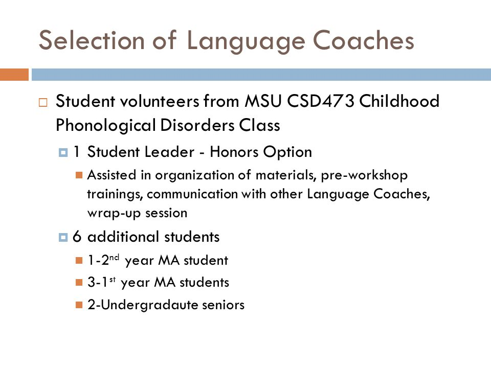 Selection of Language Coaches
