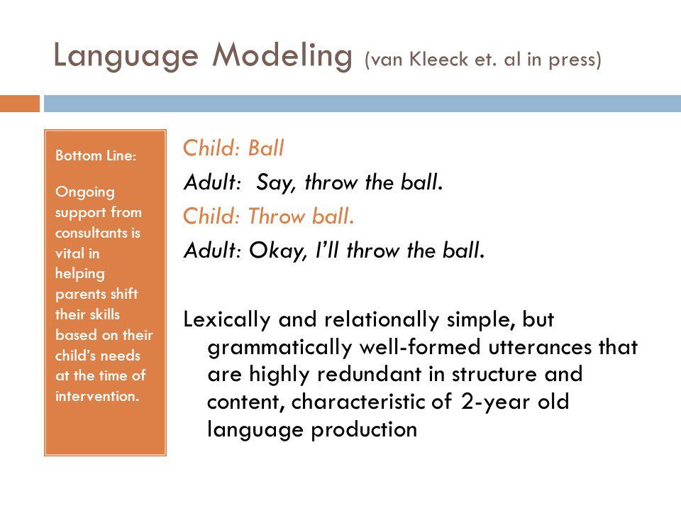 Language Modeling (van Kleeck et. al in press)