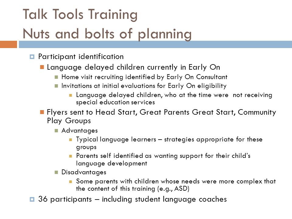 Talk Tools Training Nuts and bolts of planning