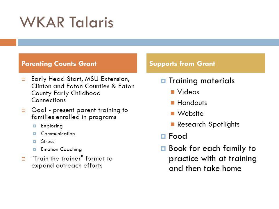 WKAR Talaris Training materials Food