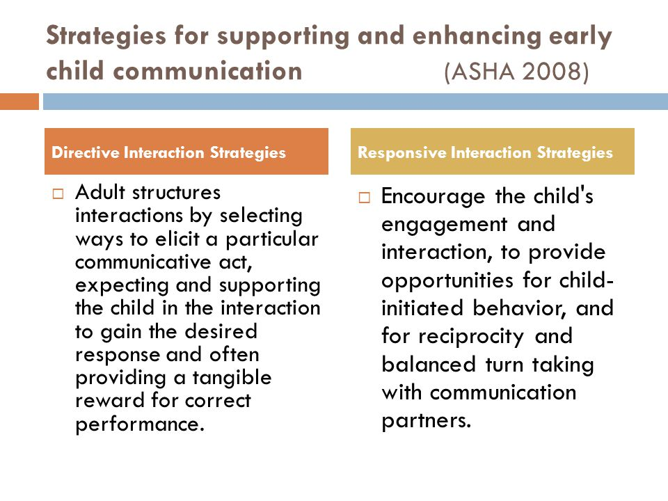 Strategies for supporting and enhancing early child communication (ASHA 2008)