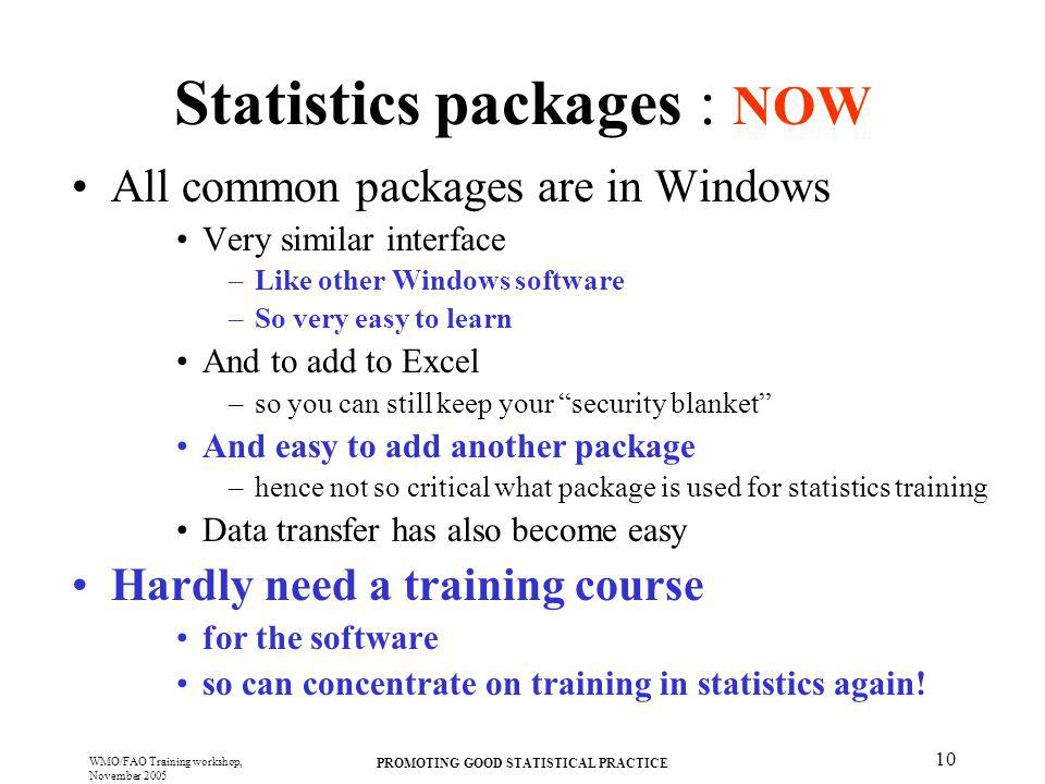 Statistics packages : NOW