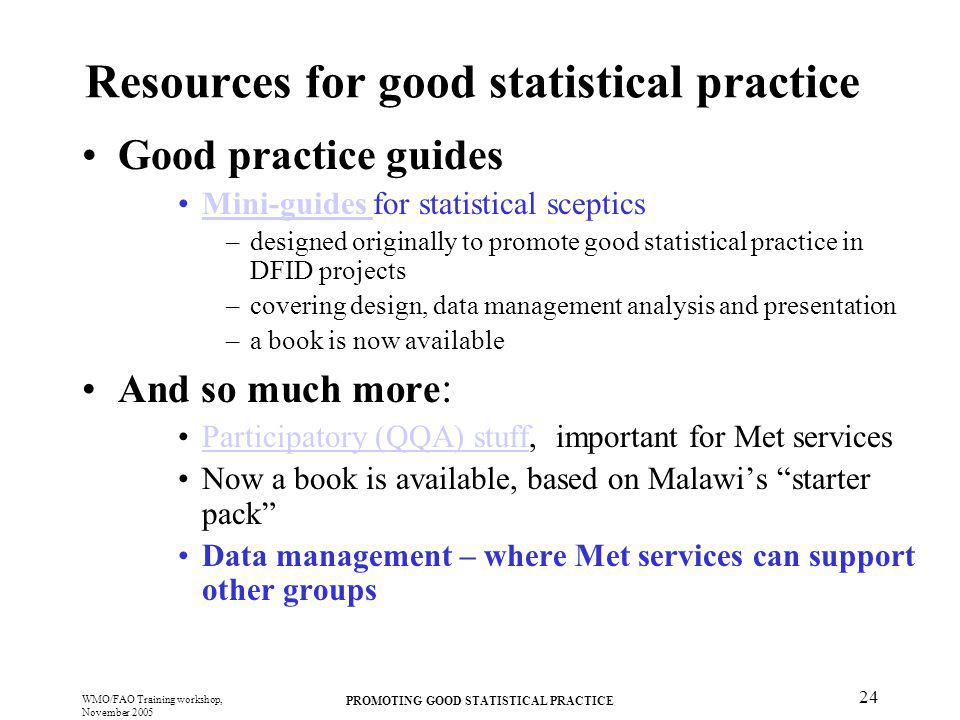 Resources for good statistical practice