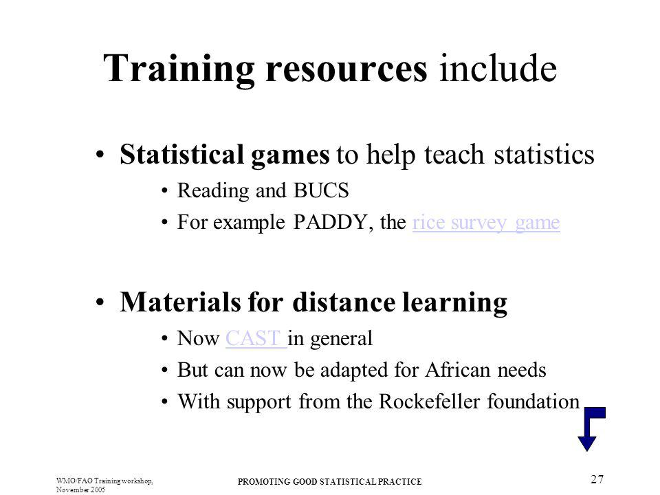Training resources include
