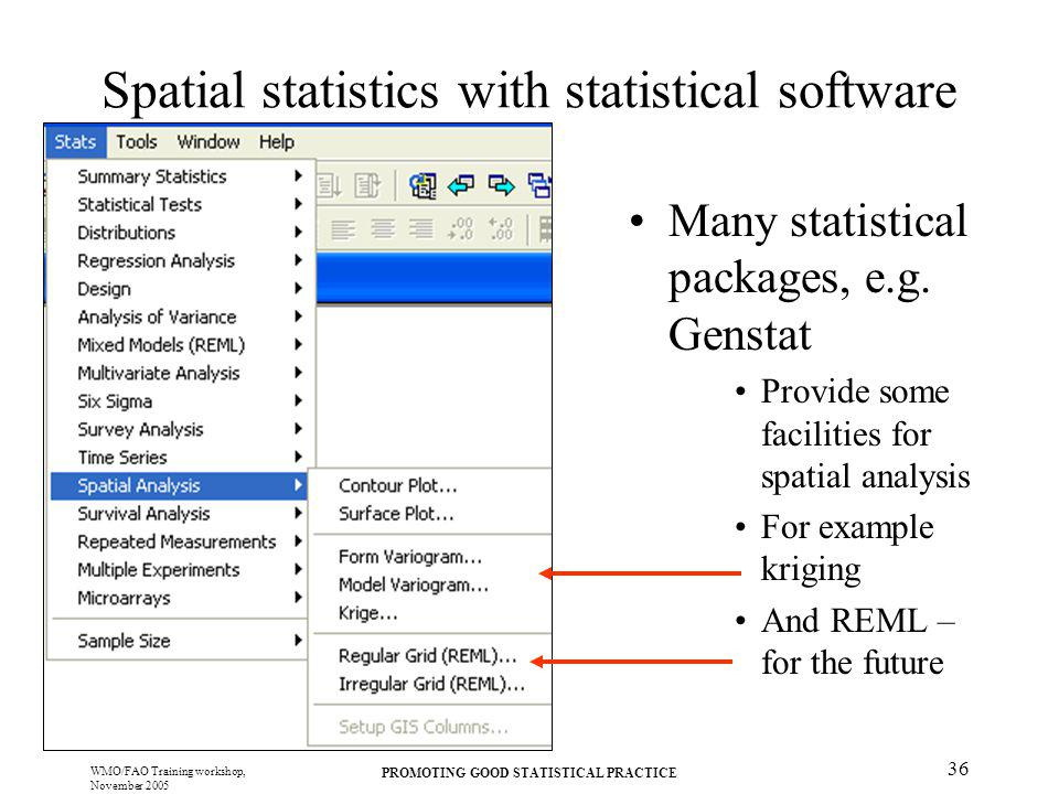 Spatial statistics with statistical software