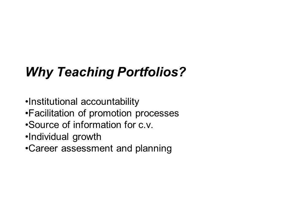 Why Teaching Portfolios
