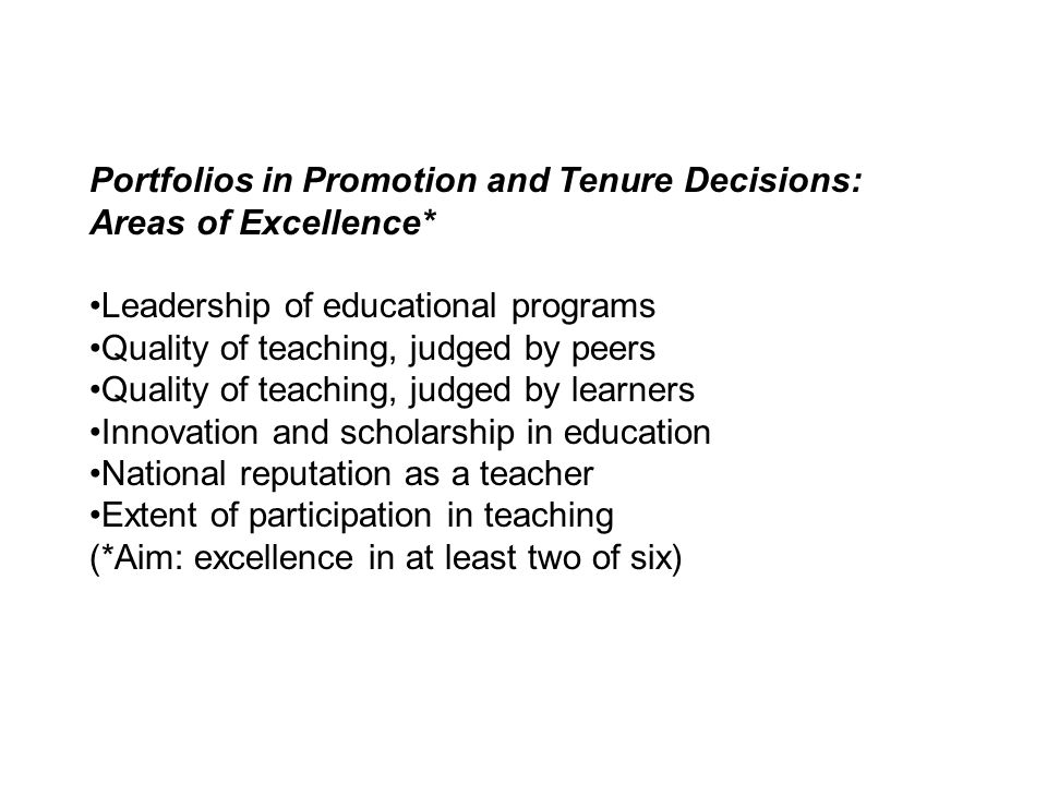 Portfolios in Promotion and Tenure Decisions: Areas of Excellence