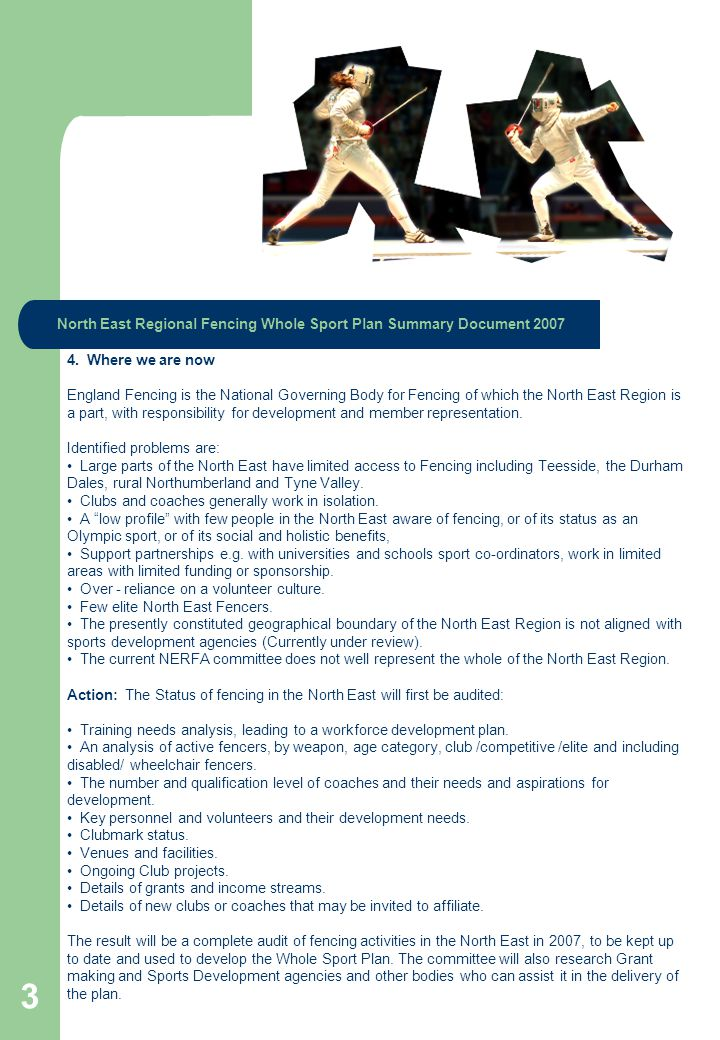 North East Regional Fencing Whole Sport Plan Summary Document 2007