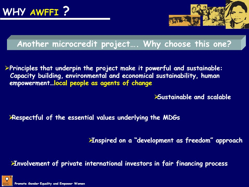 WHY AWFFI Another microcredit project…. Why choose this one