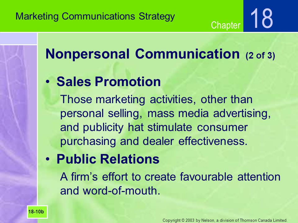 Nonpersonal Communication (2 of 3)